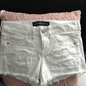 Express White Distressed Denim Shorts